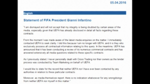 """FIFA President Gianni Infantino releases a statement denying reported links to a company implicated in the """"Panama Papers"""" scandal.(photo grabbed from Reuters video)"""