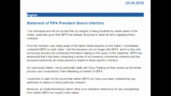 "FIFA President Gianni Infantino releases a statement denying reported links to a company implicated in the ""Panama Papers"" scandal.(photo grabbed from Reuters video)"