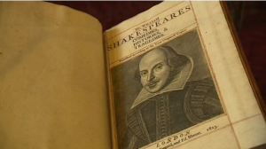 Four hundred-year-old first edition of Shakespeare's plays found on the Isle of Bute, near Scotland.(photo grabbed from Reuters video)