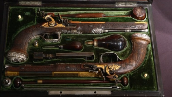 A pair of french silver-mounted pistols given to Simón Bolívar by revolutionary aristocrat Marquis de Lafayette during the Enlightenment period go up on the auction bloc at Christie's.(photo grabbed from Reuters video)