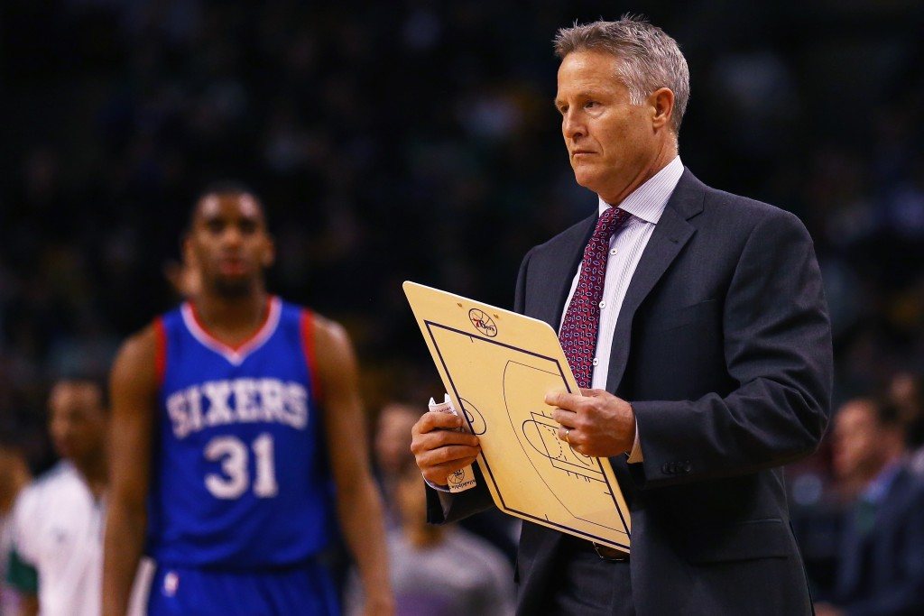 BOSTON, MA - FEBRUARY 06: Brett Brown, head coach of the Philadelphia 76ers calls a timeout during the second quarter against the Boston Celtics at TD Garden on February 6, 2015 in Boston, Massachusetts.   Maddie Meyer/Getty Images) NOTE TO USER: User expressly acknowledges and agrees that, by downloading and/or using this photograph, user is consenting to the terms and conditions of the Getty Images License Agreement.