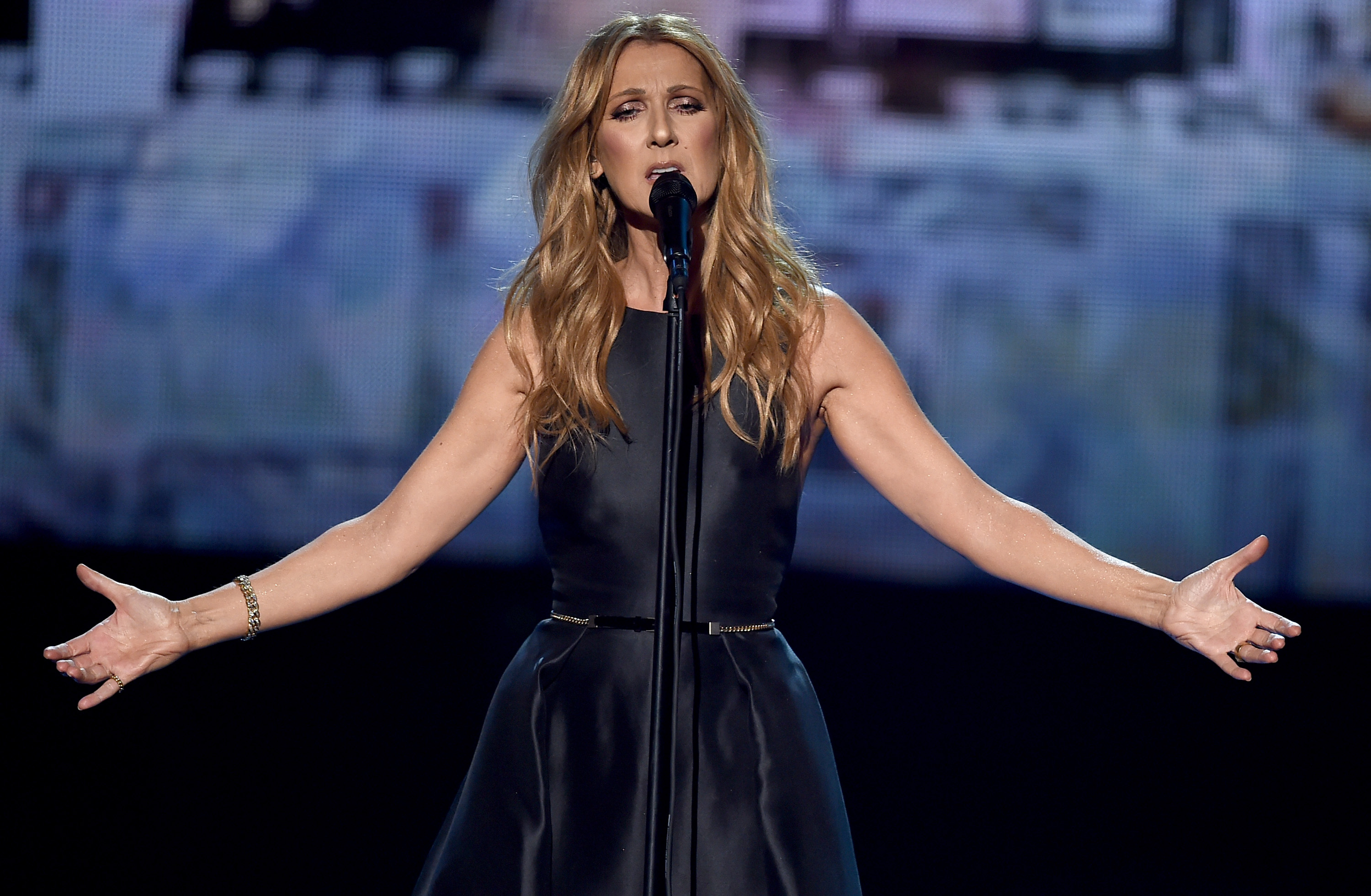 LOS ANGELES, CA - NOVEMBER 22: Singer Celine Dion performs onstage during the 2015 American Music Awards at Microsoft Theater on November 22, 2015 in Los Angeles, California.   Kevin Winter/Getty Images/AFP
