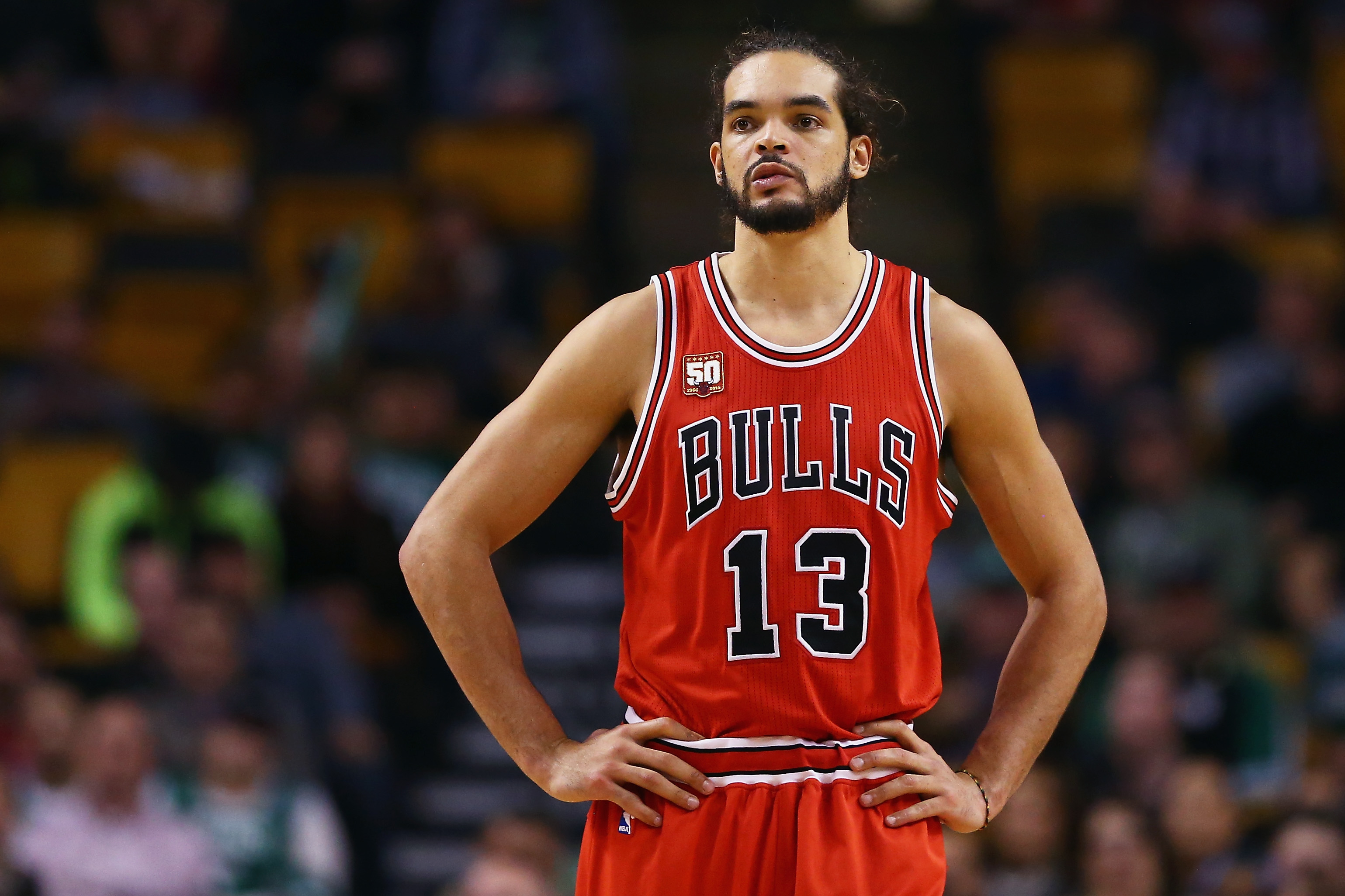 BOSTON, MA - DECEMBER 09: Joakim Noah #13 of the Chicago Bulls looks on during the second half against the Boston Celtics at TD Garden on December 9, 2015 in Boston, Massachusetts. The Celtics defeat the Bulls 105-100.   Maddie Meyer/Getty Images/AFP