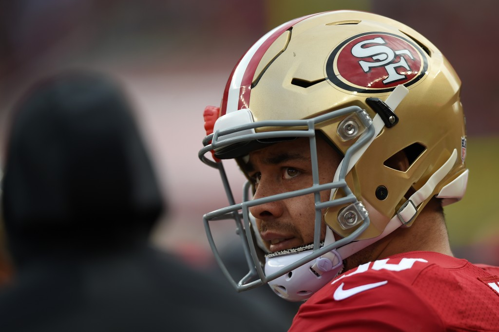SANTA CLARA, CA - JANUARY 03: Jarryd Hayne #38 of the San Francisco 49ers looks on from the sidelines during their NFL game against the St. Louis Rams at Levi's Stadium on January 3, 2016 in Santa Clara, California.   Thearon W. Henderson/Getty Images/AFP