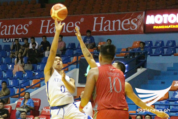 Ateneo guard Thirdy Ravena puts up a shot against Lyceum during their Filoil Flying V Hanes Pre-Season Premier Cup game on Friday. (Photo courtesy: Prince Coz / Sports On Air, Eagle News Service)