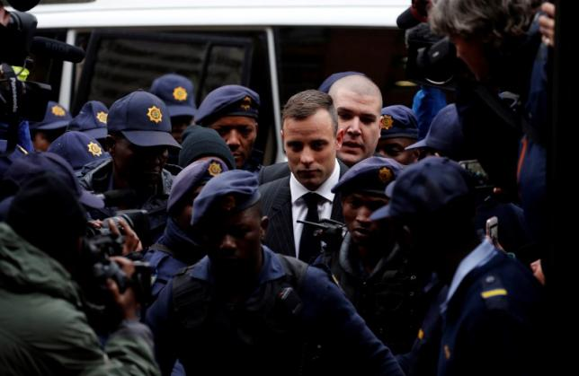 Former Paralympian Oscar Pistorius arrives to be sentenced for murder of his girlfriend Reeva Steenkamp, at the Pretoria High Court, South Africa June 13,2016. REUTERS/Siphiwe Sibeko TPX IMAGES OF THE DAY