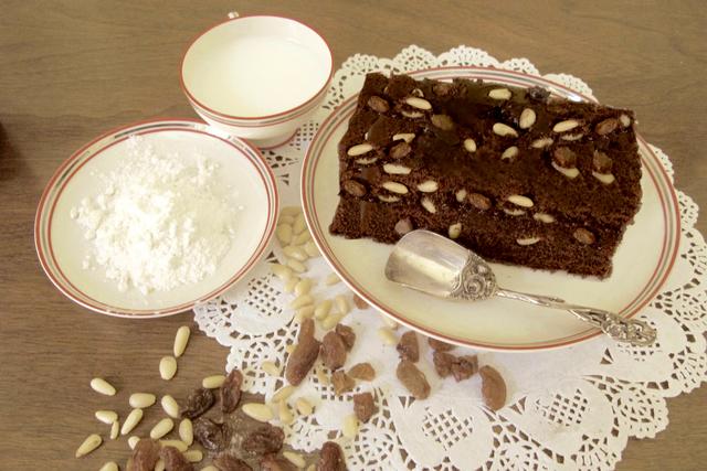 The torta di pane della Nonna is made with stale bread, raisins, cocoa and amaretti biscuits. Credit: Copyright 2016 Cesare Zucca