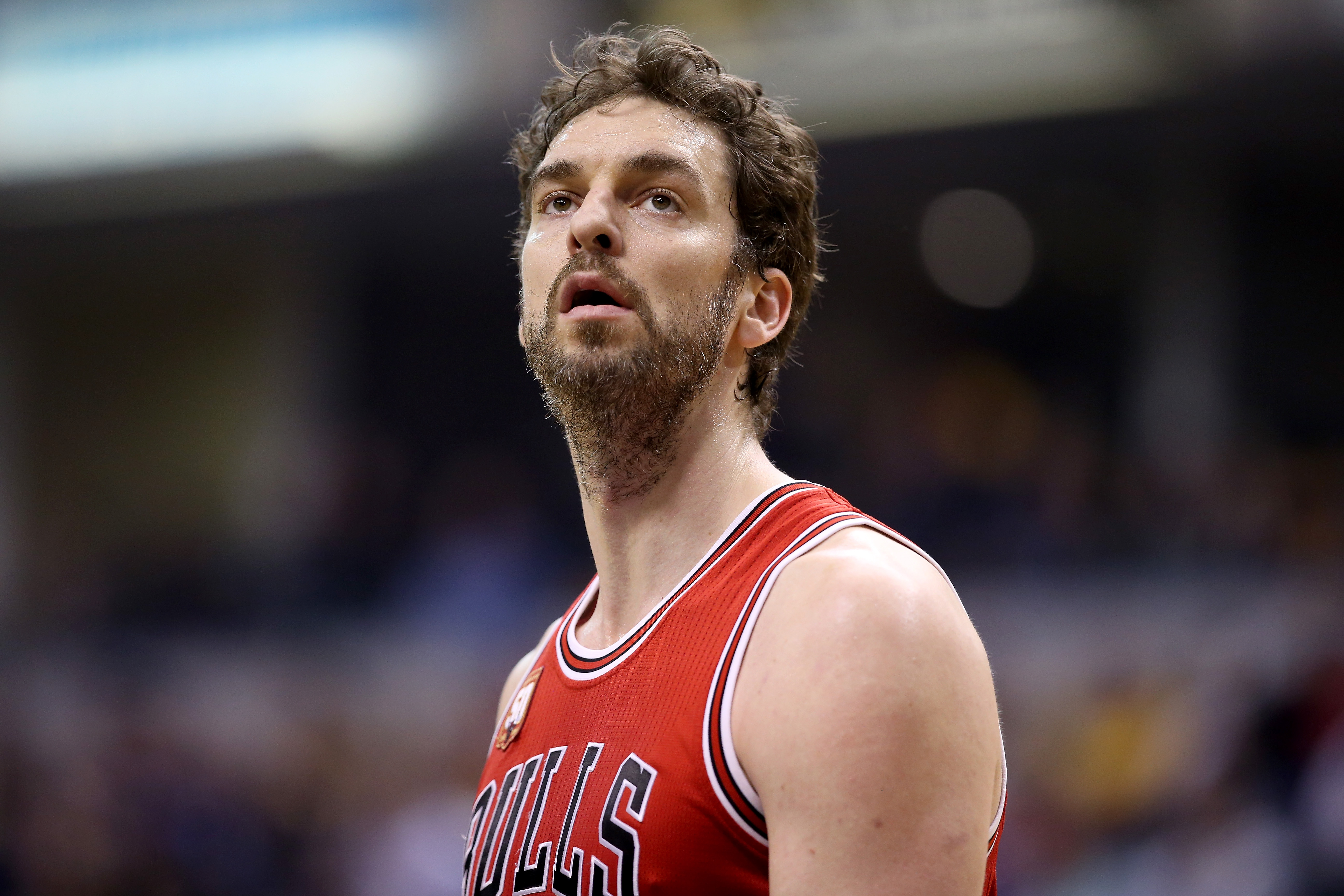 INDIANAPOLIS, INDIANA - MARCH 29: Pau Gasol #16 of the Chicago Bulls watches the action during the game against the Indiana Pacers at Bankers Life Fieldhouse on March 29, 2016 in Indianapolis, Indiana. NOTE TO USER: User expressly acknowledges and agrees that, by downloading and or using this photograph, User is consenting to the terms and conditions of the Getty Images License Agreement.   Andy Lyons/Getty Images/AFP