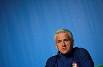 "(FILES) This file photo taken on August 03, 2016 shows US swimmer Ryan Lochte holding a press conference in Rio de Janeiro, two days ahead of the opening ceremony of the Rio 2016 Olympic Games. Star American swimmer Ryan Lochte said August 20, 2016 he took ""full responsibility"" for vandalizing a gas station bathroom and then telling police an ""overexaggerated"" story about it during the Rio Olympics. The episode, which has embarrassed the US sporting superpower, saw Lochte and three other gold-winning US swimmers embroiled in a controversy after he gave a shocking -- and false -- account of how they had been robbed at gunpoint.  / AFP PHOTO / MARTIN BUREAU"
