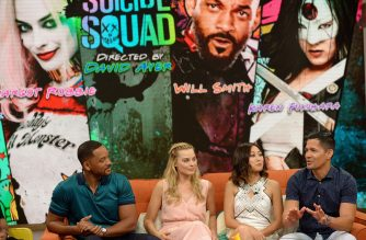 """MIAMI, FL - JULY 25: Will Smith, Margot Robbie, Karen Fukuhara and Jay Hernandez on the set of Univisions """"Despierta America"""" to support the film """"suicide Squad"""" at Univision Studios on July 25, 2016 in Miami, Florida.   Gustavo Caballero/Getty Images/AFP"""