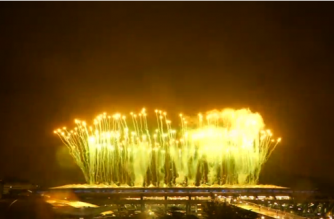 Fireworks brighten up the night sky above the Maracana Stadium as Rio de Janeiro holds the 2016 Olympic Games Closing Ceremony.(photo grabbed from Reuters video)