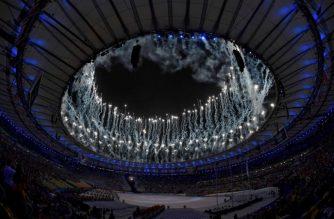 2016 Rio Olympics - Closing ceremony - Maracana - Rio de Janeiro, Brazil - 21/08/2016. Fireworks explode during the closing ceremony.  REUTERS/Toby Melville