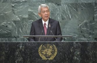 Perfecto Yasay, Secretary for Foreign Affairs of the Philippines, addresses the 71st session of the United Nations General Assembly at the UN headquarters in New York on September 24, 2016. / AFP PHOTO / KENA BETANCUR
