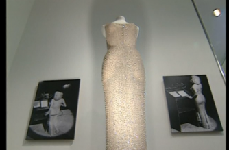 """The dress Marilyn Monroe wore for her 1962 rendition of """"Happy Birthday"""" for U.S. President John F. Kennedy will go up for auction in November. (Photo captured from Reuters video)"""