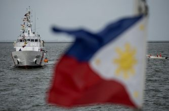 """Philippine Coast Guard's (PCG) first ever multi-role response vessel (MRRV) called the """"BRP Tubbataha"""" arrives at the port in Manila on August 18, 2016. The 44-meter vessel, is one of ten originally ordered and built by Japan Marine United Corporation and named after Tubbataha lighthouse , located in Tubbataha Marine National Park, Palawan. / AFP PHOTO / NOEL CELIS"""