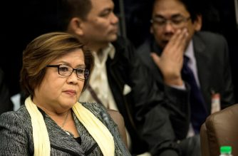 Senator Leila De Lima attends the Senate drug hearing at the Senate building in Manila on November 23, 2016.  Kerwin Espinosa, son of the late mayor Rolando Espinosa, was arrested in the United Arab Emirates last month and will face drug trafficking charges. / AFP PHOTO / NOEL CELIS