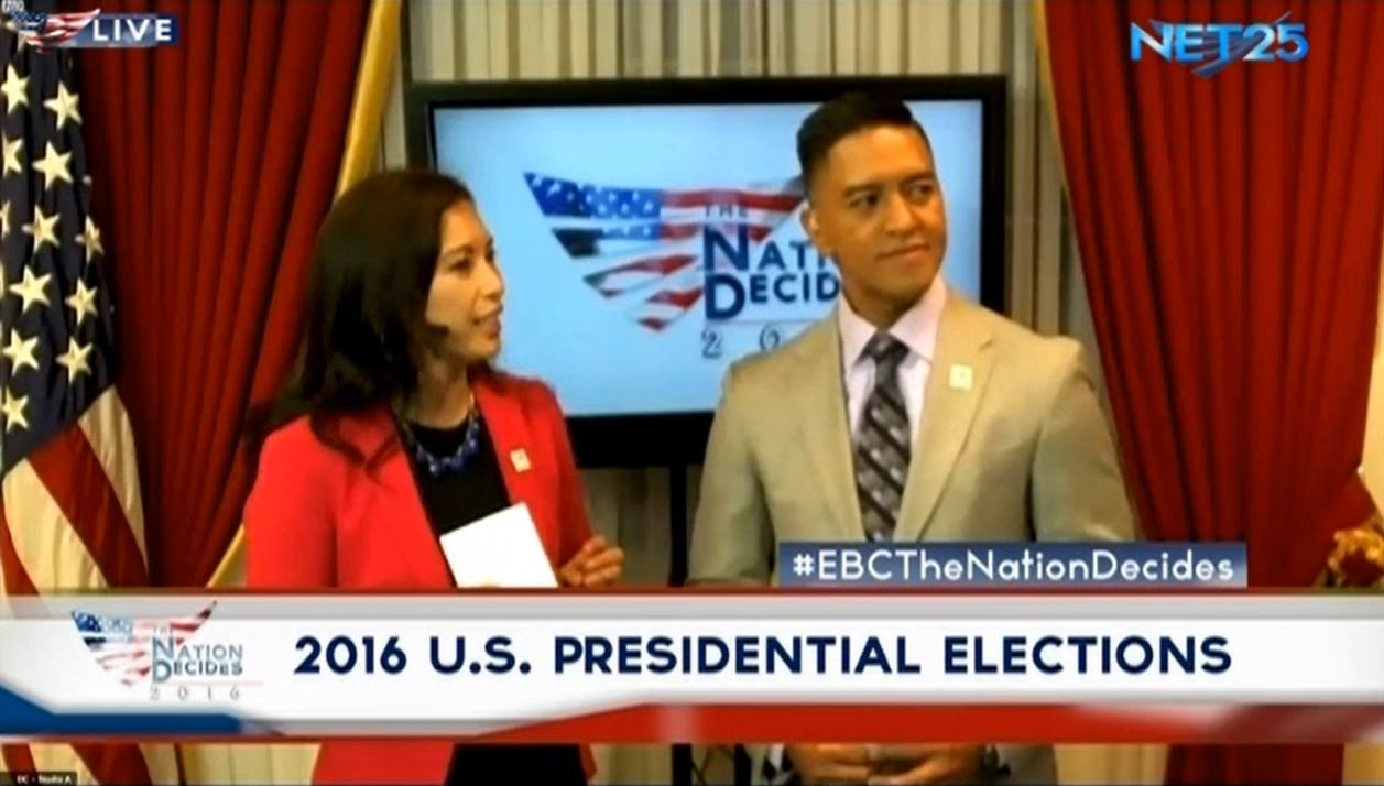 "The US Washington Bureau of Eagle Broadcasting Corporation sets the tone of the EBC's special coverage of the US elections, ""Nation Decides."" (Eagle News Service)"