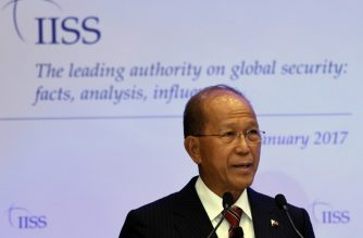 (File photo) Philippine Defence Minister Delfin Lorenzana addresses the Fullerton Forum at the Shangri-La Dialogue Sherpa Meeting, organised by the International Institute for Strategic Studies, in Singapore on January 23, 2017. . / AFP PHOTO / ROSLAN RAHMAN