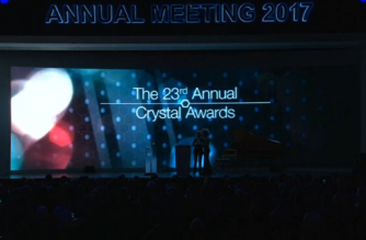 Shakira, Whitaker and Anne-Sophie Mutter honoured at WEF's Crystal Awards. (Photo grabbed from Reuters video)