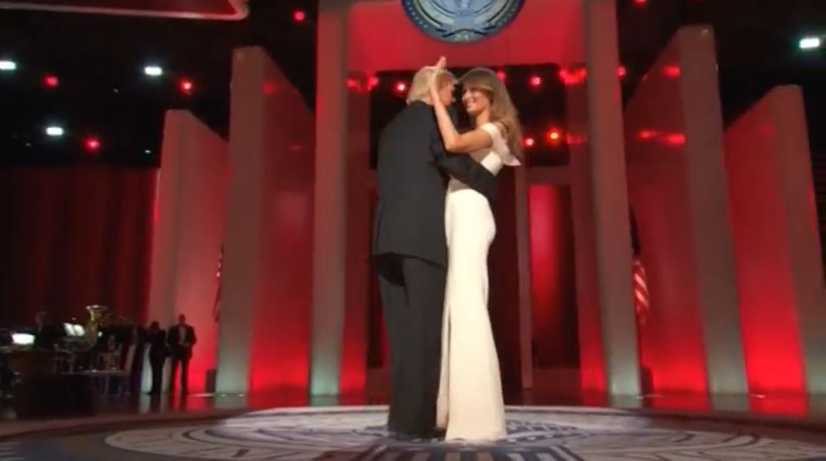 "President Donald Trump and First Lady Melania Trump dance to ""My Way"" at the Liberty Inaugural Ball Friday (January 20). (Photo grabbed from Reuters video)"
