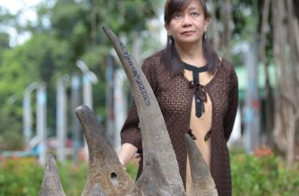 Theresa Mundita Lim, of the Biodiversity Management Bureau (BMB) of the Department of Environment and Natural Resources, stands next to rhinoceros horns, seized by customs bureau, during the turn-over ceremony at the Biodiversity Management Bureau office in Manila on February 27, 2017.   The seized rhinoceros horns estimated to be worth at 1.48 million USD, were part of the stockpile of the customs bureau, and were seized in 2012 at the Manila container port, declared as cashew nuts and shipped from Maputo City in Mozambique.   / AFP PHOTO / TED ALJIBE