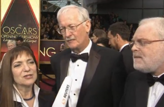 Early arrivals hit the Oscars red carpet in advance of the big show. (Photo grabbed from Reuters video)