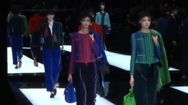 Famed Italian designer Giorgio Armani plays with tassels, beads, reds, greens and blues for his Autumn-Winter 2017/18 collection presented on the last day of the Milan Fashion Week. (Photo grabbed from Reuters video)