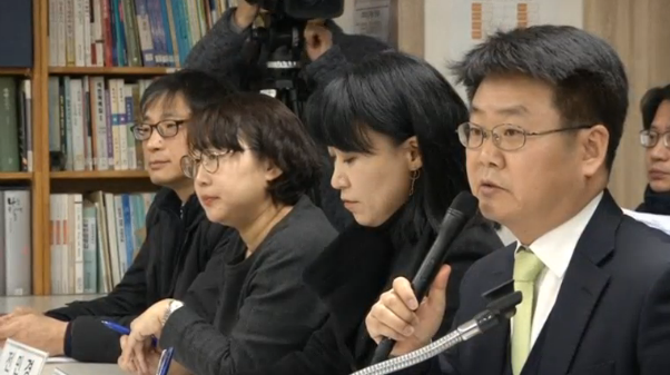 South Korean artists file a lawsuit against President Park Geun-hye and her former aides seeking damages for systematically trying to silence them under a blacklist of those critical of the embattled leader.(photo grabbed from Reuters video)