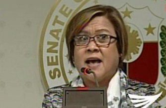 "Senator Leila De Lima calls for public support for her cause, in a press conference where she called President Duterte as a ""serial killer"" and a ""dictator""   The senator even called for Filipinos to rise up against Duterte, recalling what happened in the EDSA People Power in February 1986.  (Eagle News Service)"