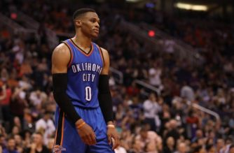 PHOENIX, AZ - MARCH 03: Russell Westbrook #0 of the Oklahoma City Thunder reacts during the final moments of the second half of the NBA game against the Phoenix Suns at Talking Stick Resort Arena on March 3, 2017 in Phoenix, Arizona. The Suns defeated the Thunder 118-111. NOTE TO USER: User expressly acknowledges and agrees that, by downloading and or using this photograph, User is consenting to the terms and conditions of the Getty Images License Agreement.   Christian Petersen/Getty Images/AFP