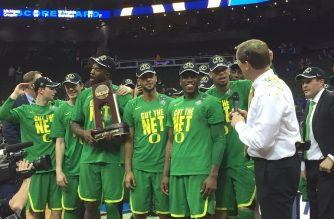 No. 3 Oregon defeats No. 1 Kansas to advance to its first Final Four since 1939.