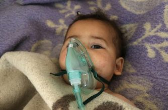 A Syrian child receives treatment at a small hospital in the town of Maaret al-Noman following a suspected toxic gas attack in Khan Sheikhun, a nearby rebel-held town in Syria's northwestern Idlib province, on April 4, 2017. Warplanes carried out a suspected toxic gas attack that killed at least 35 people including several children, a monitoring group said. The Syrian Observatory for Human Rights said those killed in the town of Khan Sheikhun, in Idlib province, had died from the effects of the gas, adding that dozens more suffered respiratory problems and other symptoms.  / AFP PHOTO / Mohamed al-Bakour / ADDING INFORMATION IN CAPTION