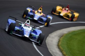 INDIANAPOLIS, IN - MAY 28: Takuma Sato of Japan, driver of the #26 Andretti Autosport Honda, leads a group of cars during the 101st Indianapolis 500 at Indianapolis Motorspeedway on May 28, 2017 in Indianapolis, Indiana.   Jared C. Tilton/Getty Images/AFP