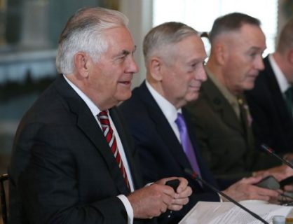 WASHINGTON, DC - JUNE 21: (L-R) U.S. Secretary of State Rex Tillerson, Defense Secretary Jim Mattis, and Joint Chief Chairman Joseph Dunford attend a security dialogue meeting with members of the Chinese government at the State Department, on June 21, 2017 in Washington, DC. Mark Wilson/Getty Images/AFP