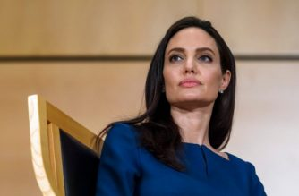 US actress and United Nations High Commissioner for Refugees (UNHCR) special envoy Angelina Jolie attends the annual lecture of the Sergio Vieira de Mello Foundation at United Nations (UN) office in Geneva on March 15, 2017. / AFP PHOTO / Fabrice COFFRINI