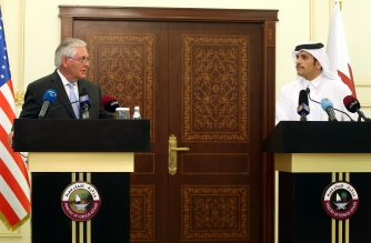 US Secretary of State Rex Tillerson and Qatari Foreign Minister Sheikh Mohammed bin Abdulrahman Al-Thani speak during a press conference in Doha, on July 11, 2017. The US and Qatar announced they have signed an agreement on fighting terrorism, at a time when the emirate is facing sanctions from neighbouring countries which accuse it of supporting extremism. / AFP PHOTO / STRINGER