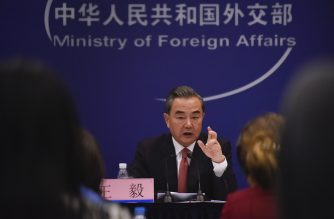Chinese Foreign Minister Wang Yi answers a question during a press conference in Beijing on August 30, 2017. China is working with other members of the United Nations Security Council on a response to North Korea's missile launch over Japan, the Chinese foreign minister said on August 30. / AFP PHOTO / WANG ZHAO