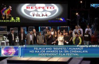 """Pelikulang """"Respeto,"""" humakot ng major awards sa 13th Cinemalaya independent film festival"""