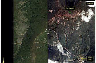 "FILE PHOTO: This before-and-after images courtesy of Planet, show the Punggye-ri test site where on September 3, 2017, North Korea claimed to have conducted the undeground explosion of a hydrogen bomb. The image on the left is pre-test image acquired on September 1, 2017, while the post-test image, showing landslided, was acquired on September 4. / AFP PHOTO / Planet / HO / RESTRICTED TO EDITORIAL USE - MANDATORY CREDIT ""AFP PHOTO / Image courtesy of Planet"""