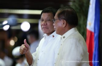 President Rodrigo Duterte during the during the 24th Anniversary celebration of the Office of the Presidential Adviser on the Peace Process in Malacañan Palace on September 14, 2017. Also in the photo is Presidential Adviser on the Peace Process Jesus Dureza. KARL NORMAN ALONZO/PRESIDENTIAL PHOTO
