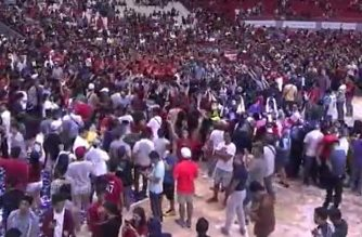 The Ginebra team celebrating its victory as the 2017 PBA Governors' Cup Champions, along with its fans, at the packed Philippine Arena in Bulacan.  Ginebra won with a score of 101-96, beating the Meralco Bolts, and becoming the back-to-back PBA Governors' Cup Champions.