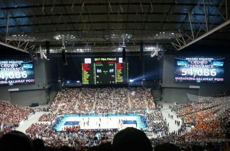 Record Breaking Crowd Attendance:  Basketball fans who wanted to watch live the epic Ginebra San Miguel vs Meralco Bolts' Game 7 final match-up reached a record-breaking 54,086 at the Philippine-Arena which can seat a maximum of 55,000 people in Ciudad de Victoria in Bulacan on Friday night, October 27, 2017.  (Eagle News Service)