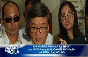 SOJ Aguirre, umalma sa report na hindi pinahahalagahan ang kaso ng shabu smuggling