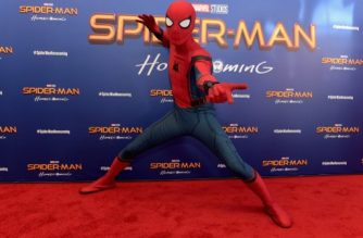 "NEW YORK, NY - JUNE 26: Spiderman attends the ""Spiderman: Homecoming"" New York First Responders' Screening at Henry R. Luce Auditorium at Brookfield Place on June 26, 2017 in New York City.   Jason Kempin/Getty Images/AFP"