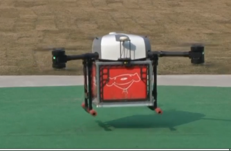 Photo shows a JD.COM drone taking off to deliver a parcel taken from a test flight (REUTERS)