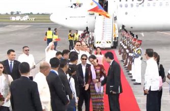 Myanmar's State Counsellor Aung San Suu Kyi arrives at the Clark International Airport in Pampanga on Saturday, Nov. 11, 2017.  World leaders have started arriving in the Philippines for the 31st ASEAN Summit and related meetings to be held in the country.  The Philippines is hosting the ASEAN Summit on its 50th or golden year since its establishment.  (Photo grabbed from RTVM/ Eagle News Service)