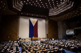 A general shot shows the session hall of the House of Representatives in Manila, Philippines. / AFP Photo / Noel Celis