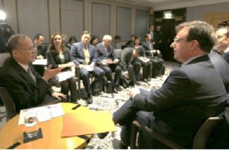 Former President Benigno Aquino meeting with officials of Sanofi Pasteur in Paris on December 1, 2015.  Photo from Senate Blue Ribbon committee hearing presentation of Senator Richard Gordon.