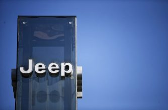 A pciture taken on August 21, 2017 at a car dealer in Turin shows the logo of Jeep automobile company, brand of Fiat Chrysler Automobiles (FCA).  / AFP PHOTO / Marco BERTORELLO