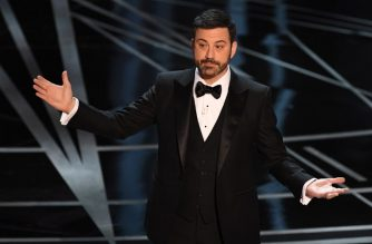 """(FILES) This file photo taken on February 26, 2017 shows host Jimmy Kimmel delivering a speech on stage at the 89th Oscars in Hollywood, California. Late night funnyman Jimmy Kimmel was amused by last year's best film """"flub"""" at the Oscars -- but said on January 8, 2018, any repeat should result in everyone at his network getting sacked. The Academy of Motion Picture, Arts and Sciences, which organizes the prestigious annual prizegiving, was left red-faced in February last year when Warren Beatty and Faye Dunaway announced the wrong winner for best film after a mix-up with the envelopes. / AFP PHOTO / Mark RALSTON"""